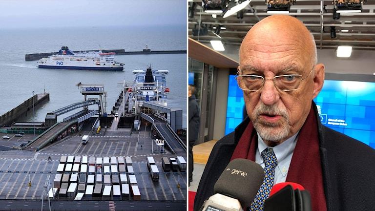 Lorries waiting at Dover, and Sweden's EU Minister, Hans Dahlgren.