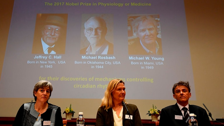 professor Juleen Zierath (left) at today's announcement of the 2017 Nobel prize in Medicine.