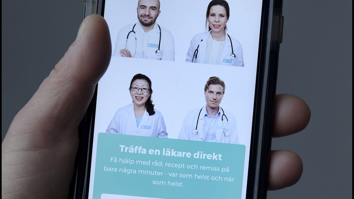 A person using medical services on a smartphone.