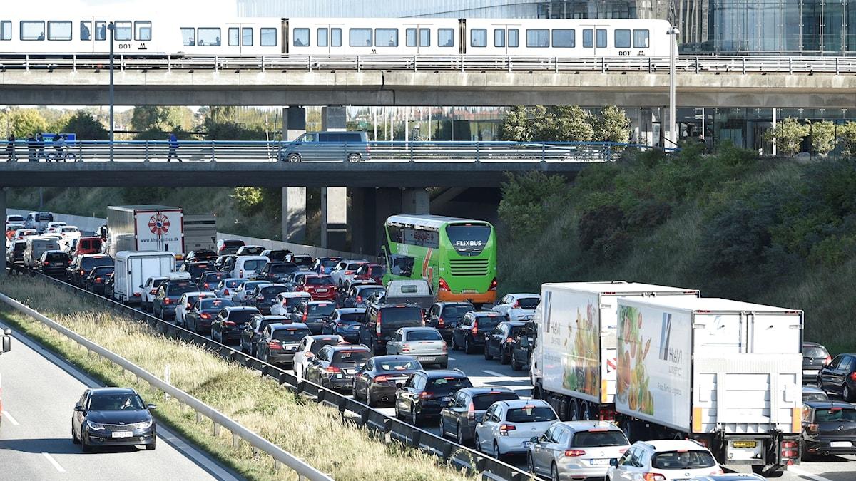 A traffic jam is seen after police closed the Oresund Bridge near Copenhagen on Friday, Sept. 28, 2018.