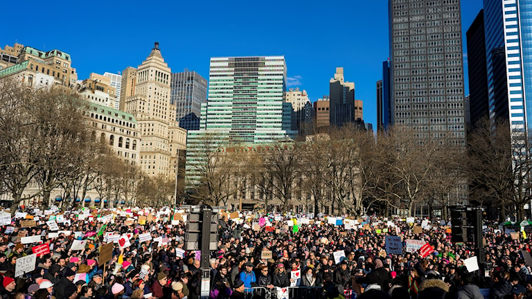 Protesters against Donald Trump in New York