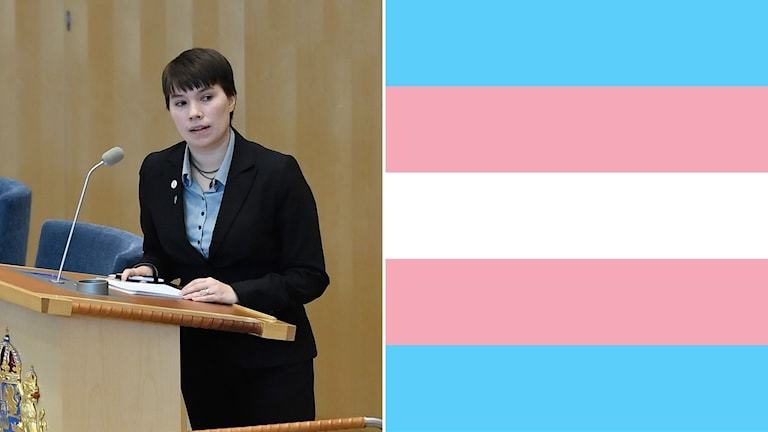 Annika Hirvonen Falk (left), transgender pride flag (right)