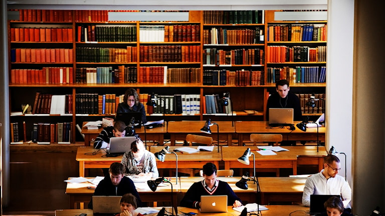 Students at Uppsala University studying.