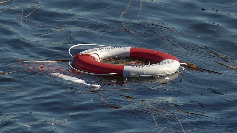 Life vest in water.