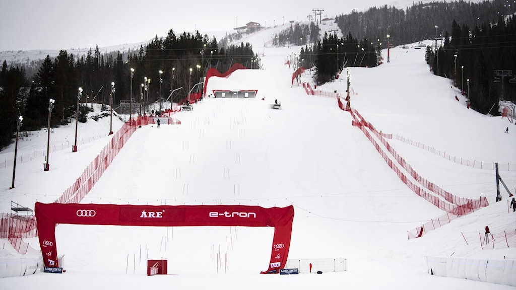 A ski slope set up for a competition