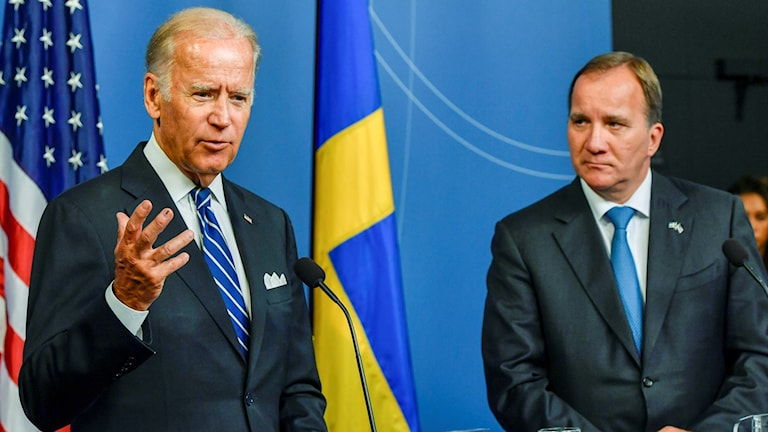 Swedish Prime Minister Stefan Löfven, right, with US Vice President Joe Biden during an afternoon press conference. Photo: Anders Wiklund / TT.