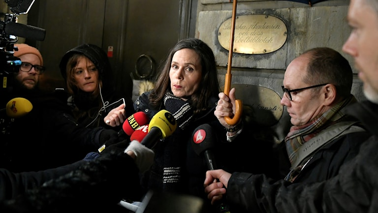 The Swedish Academy's permanent secretary Sara Danius speaking to reporters Thursday evening regarding the allegations.