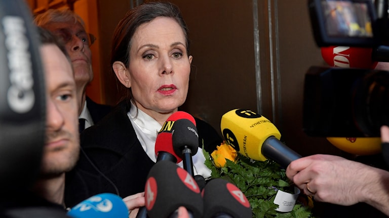 Permanent Secretary Sara Danius speaking to reporters outside the Academy's offices.