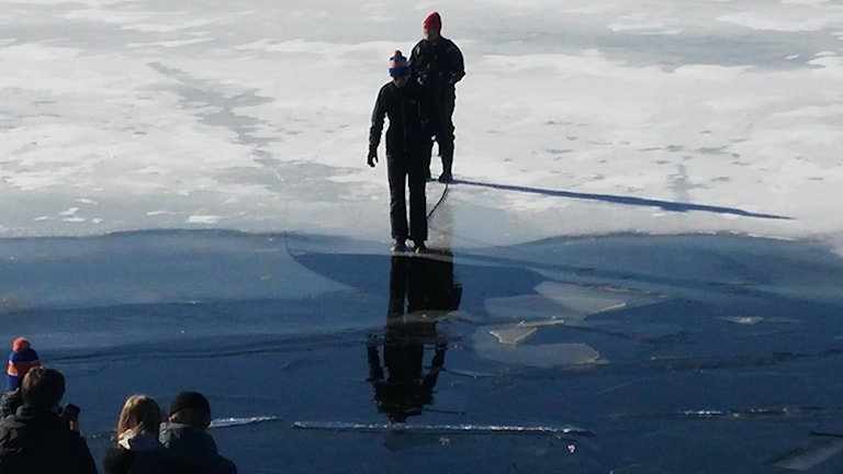 A student about to jump into icy water.