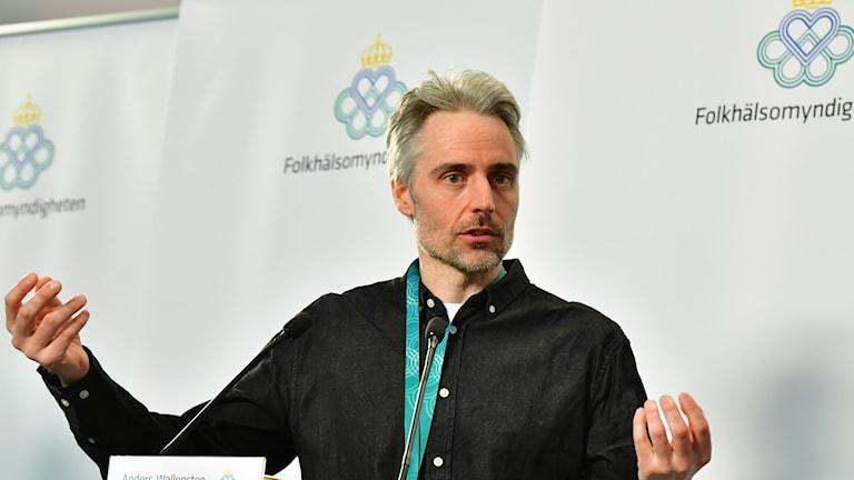Anders Wallensten, biträdande statsepidemiolog Folkhälsomyndigheten under den dagliga pressträffen om coronasituationen.