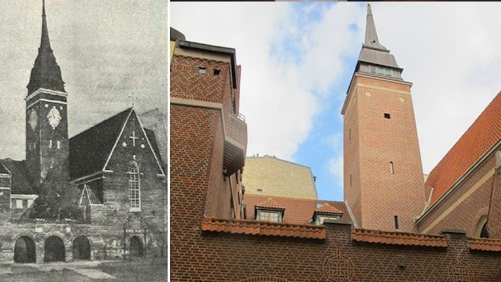 En svartvitt skiss av Sofiakyrkan i Paris och ett fotografi av den tegelröda byggnaden med högt kyrkotorn.