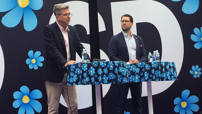 Jimmie Åkesson, the Sweden Democrat party leader, and Per Ramon at Almedalen Week in Visby.