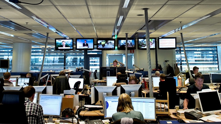 A newsroom in downtown Stockholm.
