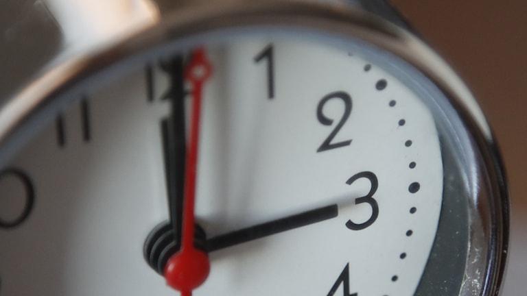 A close-up photograph of a round clock, arms set to 3 o'clock sharp.