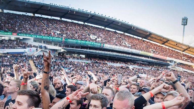 Fans at the Metallica concert in Gothenburg