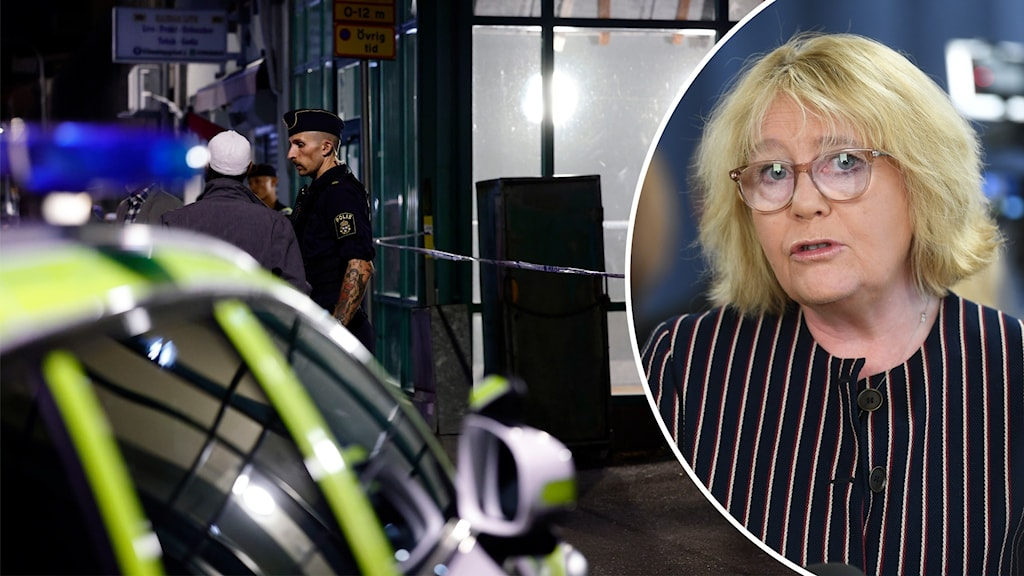Split image of a police officer at work in Stockholm and finance commissioner Irene Svenonius.
