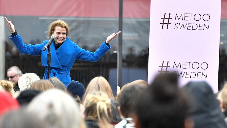 Gender Equality Minister Åsa Regner speaks to the #metoo demonstration in Sergel's Square on Sunday.