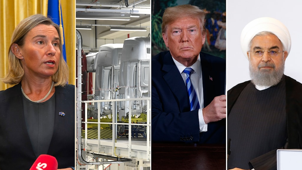 Four part picture: woman by a mic, trucks in a factory, man in suit and tie, man with a white turban.