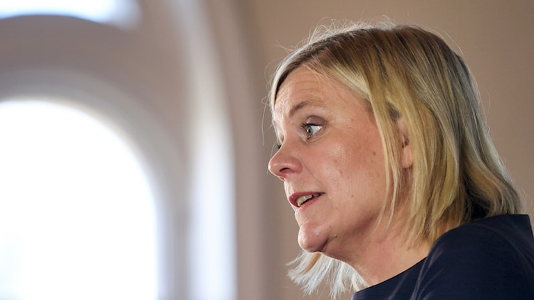 Finance Minister Magdalena Andersson holds a press conference during Almedalen.