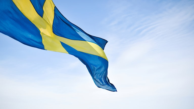 Swedish flag blowing in the wind