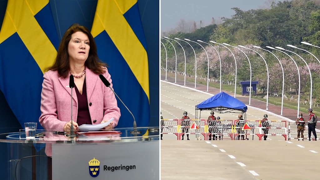 Two photos. One of a woman at a lecturn and other of a line of soldiers at a checkpoint on a roadway.
