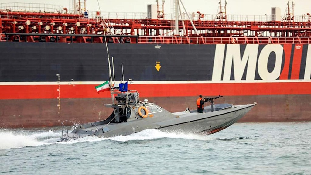The tanker Stena Impero and an Iranian boat