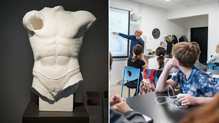 Staty från antiken och klassrum.