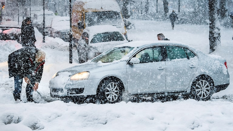 Motorists had a hard time getting home in Stockholm on Wednesday.