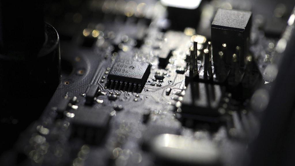 A dimly-lit circuit board.