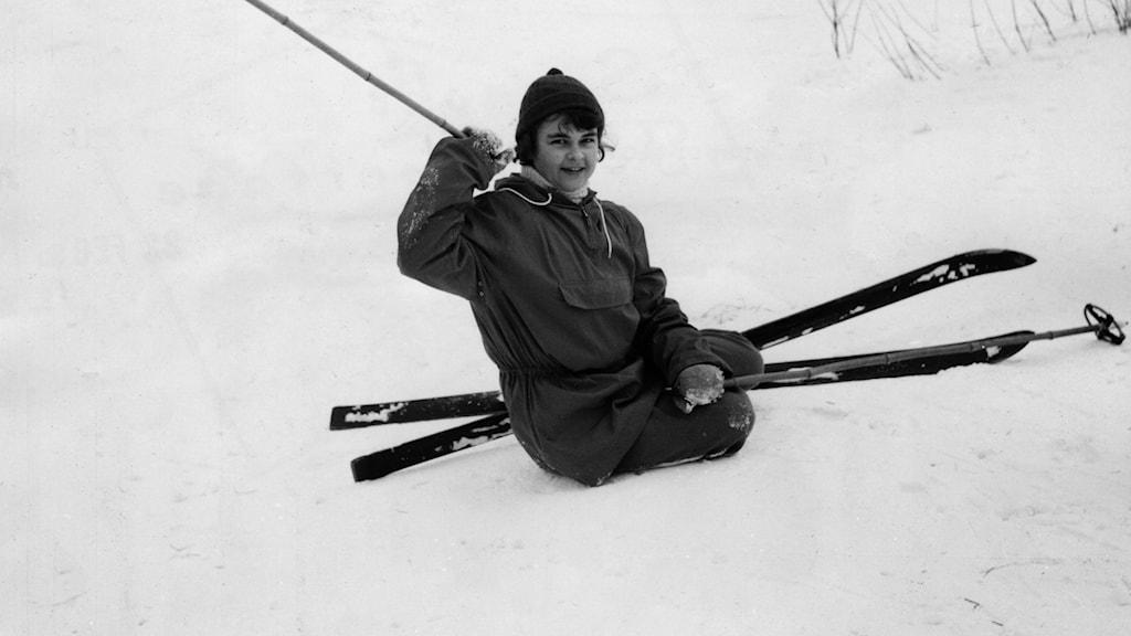 A skier on the ground in an archive photo