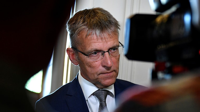 State Secretary Jan Salestrand talks with reporters after the meeting of the Swedish parliament's defence committee.