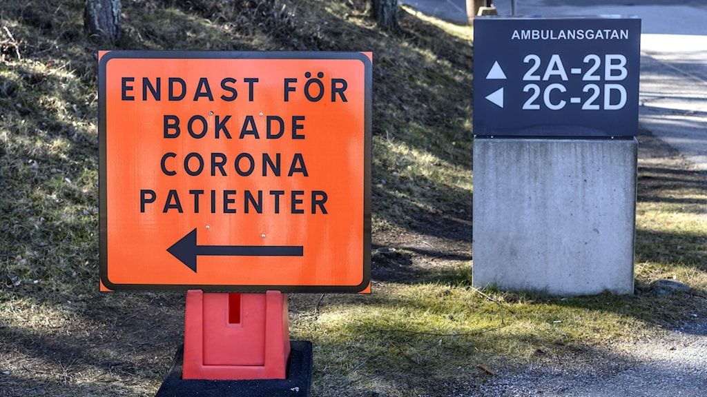 A sign directing Coronavirus patients at a Stockholm hospital