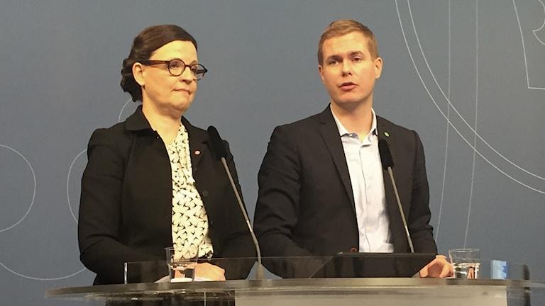 Minister for Upper Secondary School Education anna Ekström, and Minister for Education Gustav Fridolin