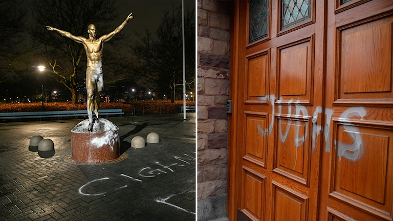 """A split image with Zlatan's statue spattered with paint on the left, and a door with """"Judas"""" written on it on the right."""