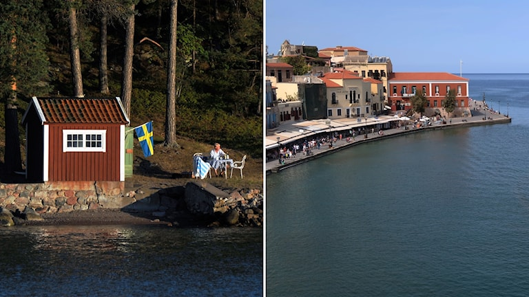 A split image of Sweden on the left and Greece on the right.