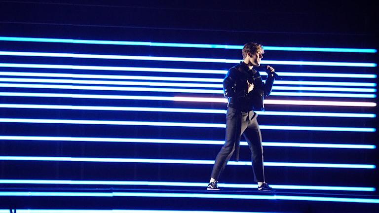 Sweden's Benjamin Ingrosso rehearsing in Lisbon