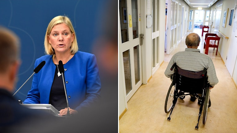 Split photo of a woman talking and a man rolling away in a wheelchair.