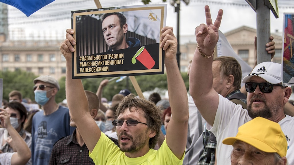 A crowd of protestors, with one holding up a picture of Alexei Navalny.