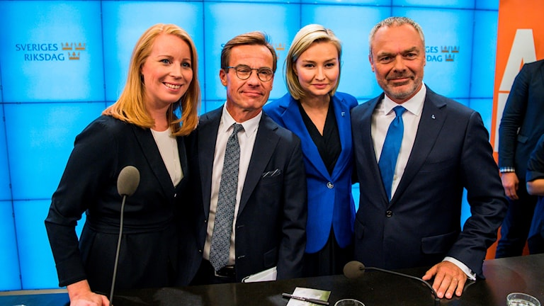 Annie Lööf of the Centre party, Ulf Kristersson of the Moderates, Ebba Busch Thor of the Christian Democrats and Jan Björklund of the Liberals.