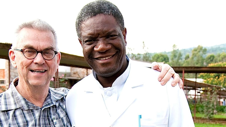 Birger Thureson with Nobel Peace Prize winner Denis Mukwege at his hospital in eastern Congo