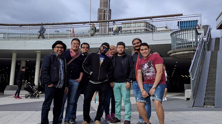 Eight members of the Work Permit Holders Association meet before setting off for Almedalen. Left to right: Tawhid Amanullah, Ning Zohu,  Tao Wan, Sirajul Islam, Tagrid Salih, Malik, Atif (Sayyid) Shaharyar, Mina Gergis