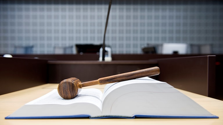 book of laws with gavel, pictured in a district court
