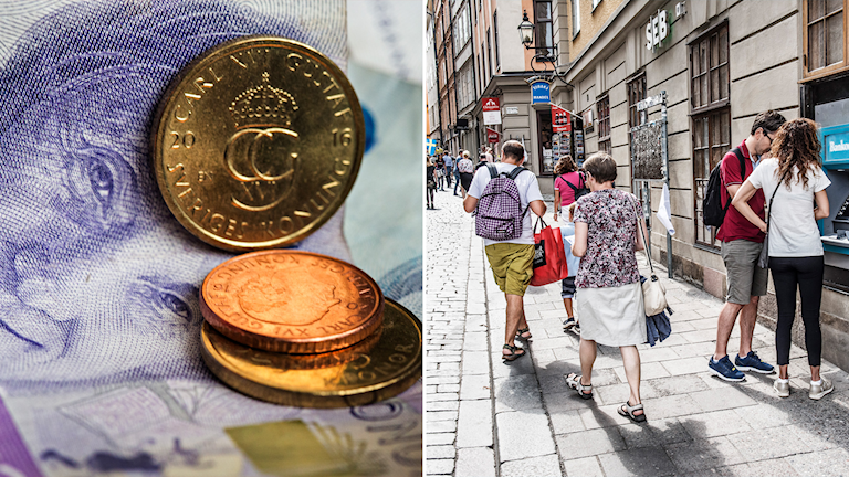 A split photo: Swedish bills and coins and the other of people walking down a cobblestone street.