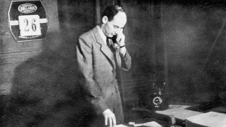 Raoul Wallenberg at his office in Budapest.