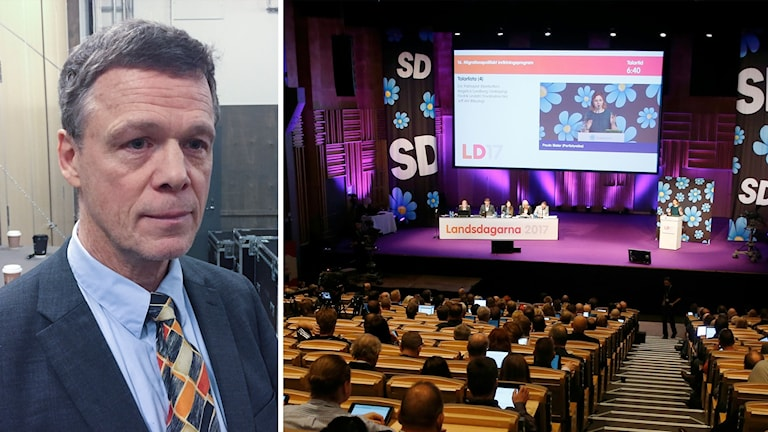 Martin Strid (left), image from Sweden Democrat conference (right)