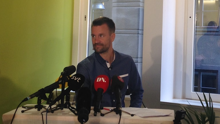 Johan Gustafsson at the press conference