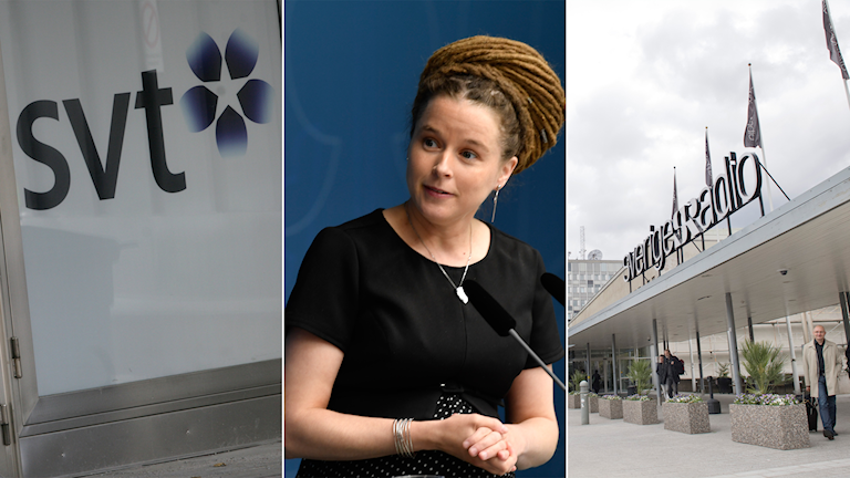 Three photos: the logo for SVT, a pregnant woman with dreadlocks and a sign on a roof for Swedish Radio.