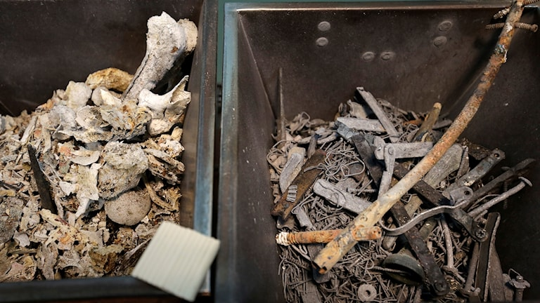 Two boxes filled with dusty-looking metal and bones.