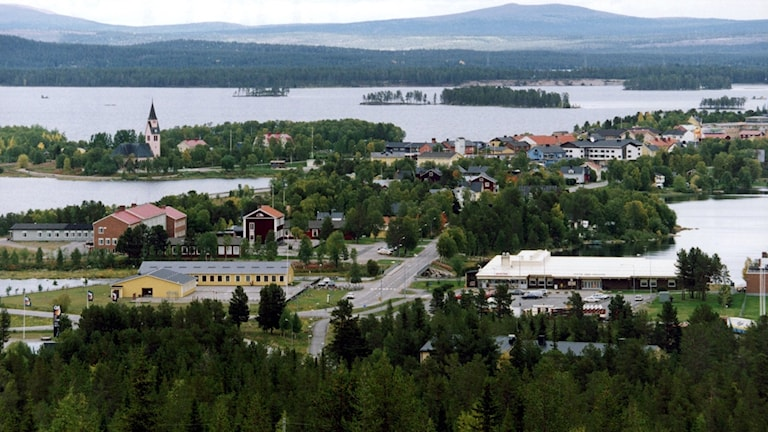 View of a town surrounded by lakes.