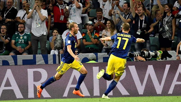 Sweden players celebrate a goal against Germany in the first round of the World Cup.